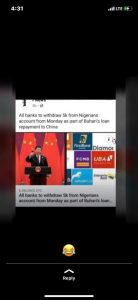Is the news that money will be deducted from Nigerian's account because of the President's loan real